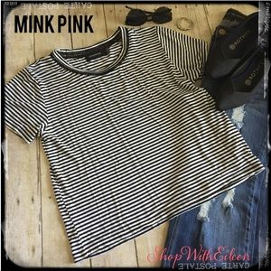 NWOT MINKPINK Black & White Striped Tshirt